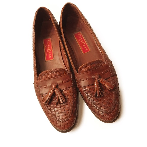 5d9fabd260a6 Cole Haan Shoes - Cole Haan Brown Woven Leather Loafers